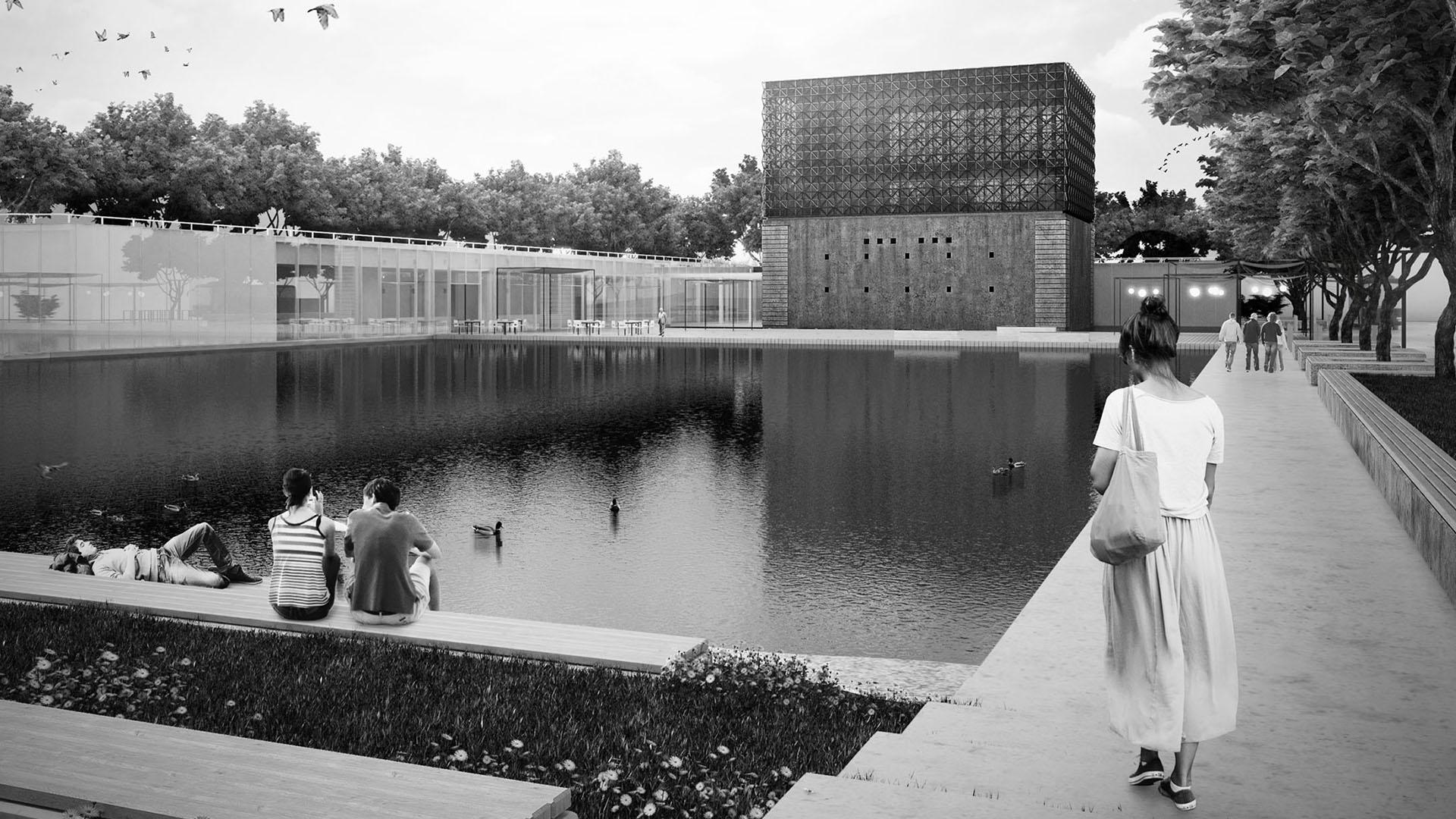 Teren Centrum Kultury jest zwieńczeniem założenia parkowego znajdującego się po stronie południowej